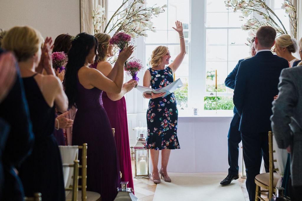 Yorkshire Celebrant Helen Lesak officiating wedding ceremony