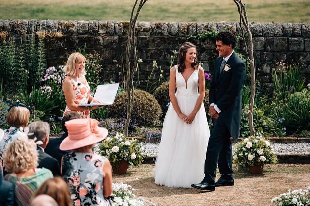 Yorkshire Celebrant Helen Lesak officiating garden wedding