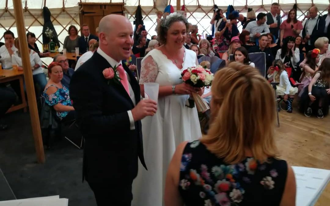 "Festival Wedding like no other for Jane and Dean – now universally known as ""Jean-Fest!"""